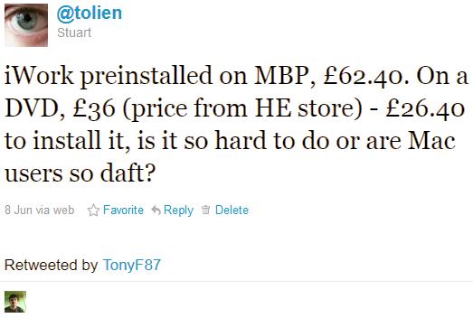 Tweet about iWork Price